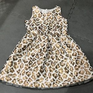 White and Gold Leopard Print Sleeveless Dress